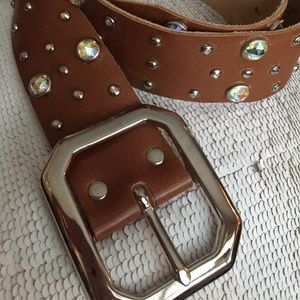 Cache' gorgeous crystal/leather belt S EUC